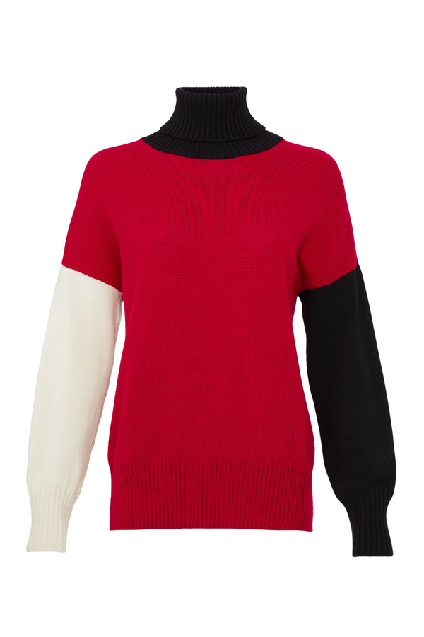 Turtleneck Colorblock Sweater
