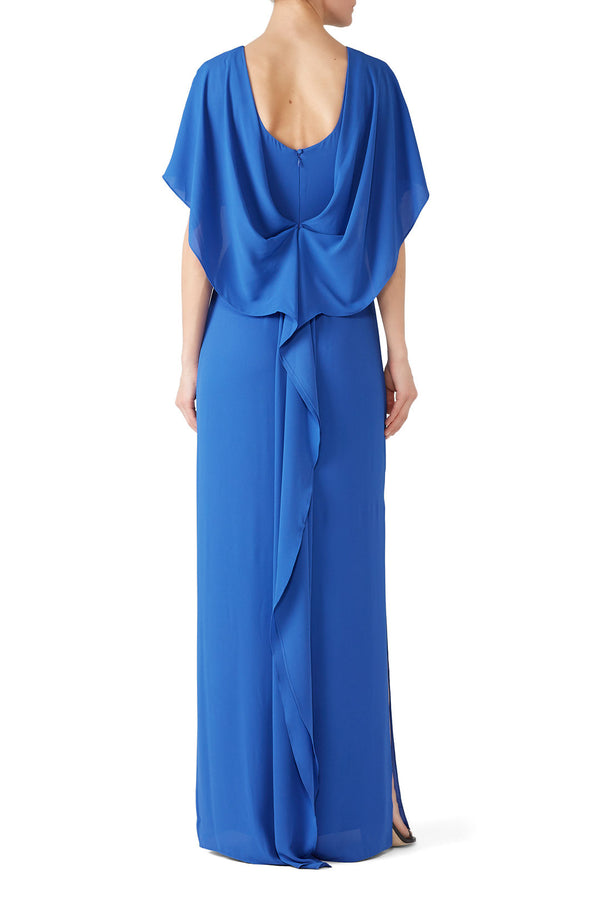 Azure Cape Sleeve Gown