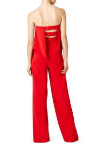 Red Retro Ruffle Jumpsuit