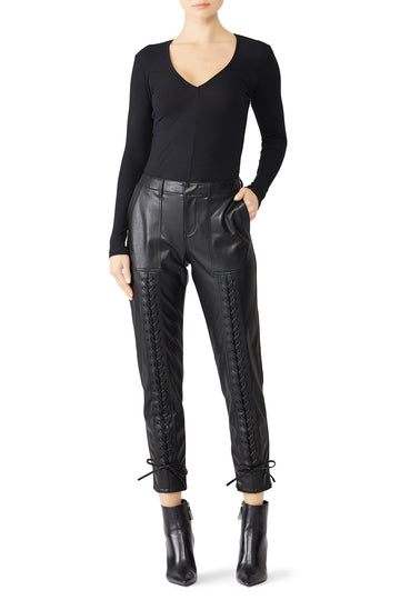 Faux Leather Lace Up Pants