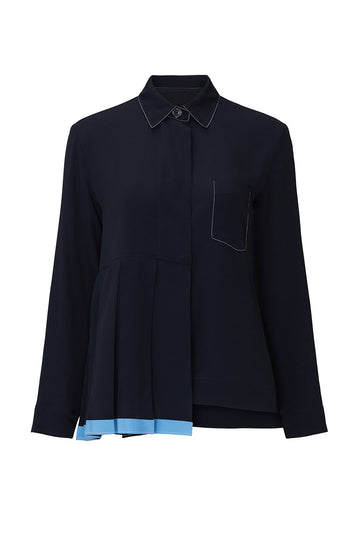 Navy Pleated Collared Shirt
