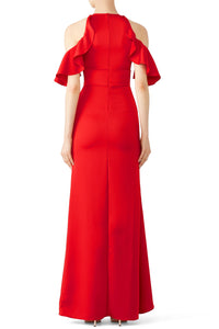 Red Ruffle High Low Gown