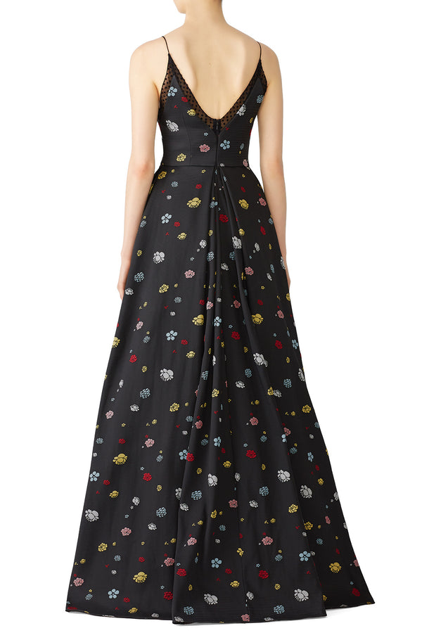 Black Multi Floral Gown