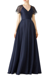 Navy Lace Sleeve Gown