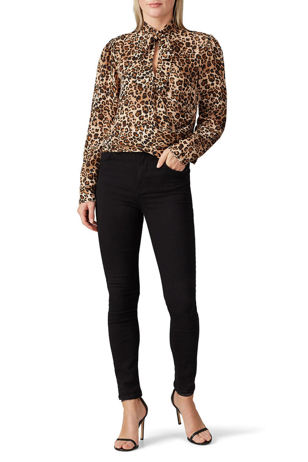 Leopard Tie Neck Top