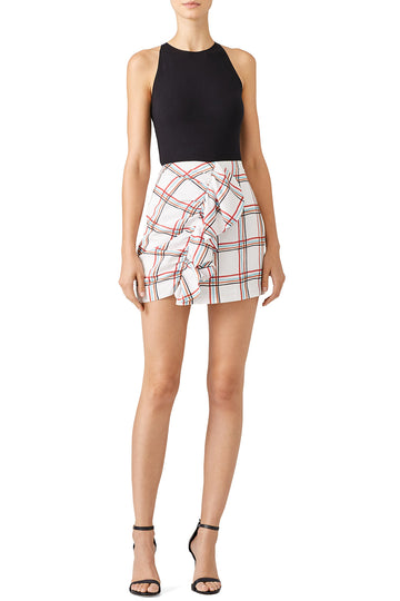 Windowpane Ruffle Skirt