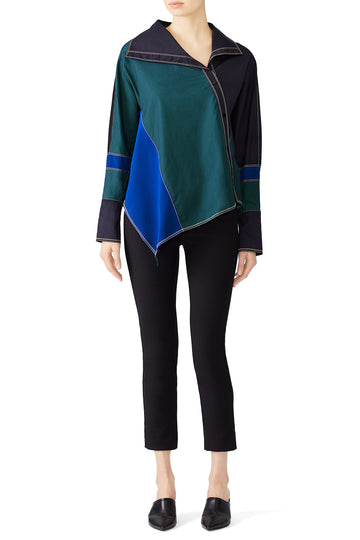 Colorblock Asymmetric Shirt