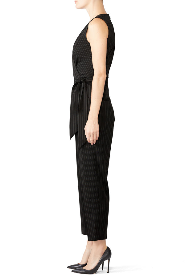 Black Pinstripe Jumpsuit