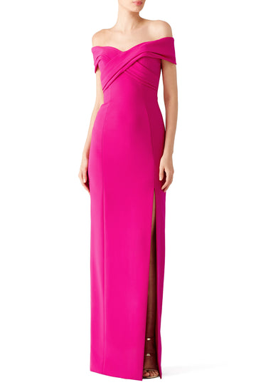 Fuchsia Off Shoulder Gown
