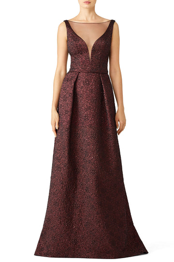 Burgundy Illusion Gown