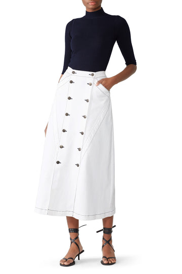 3x1 x Jason Wu Denim Long Skirt