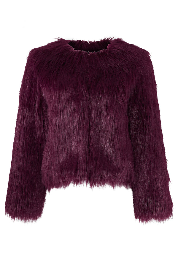 Plum Faux Fur Jacket