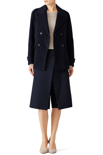 Navy Double Breasted Cropped Peacoat