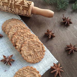 CHRISTMAS ROLLING PIN FOR COOKIES