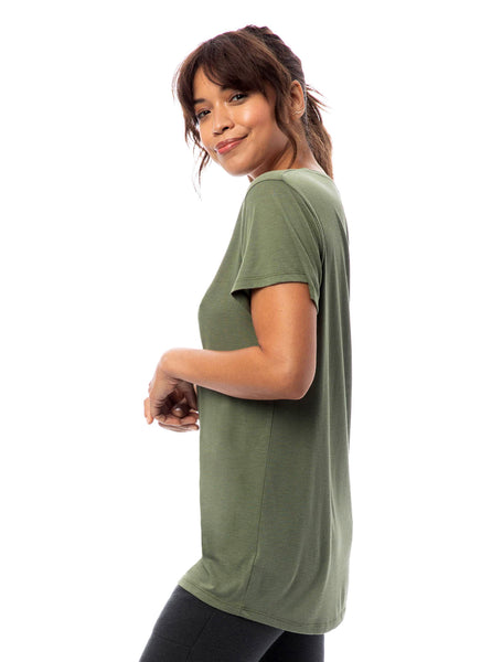 Slinky Jersey V Neck T-shirt in Army Green