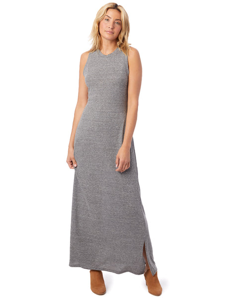 Eco-Jersey Side Slit Maxi Tank Dress in Eco Grey