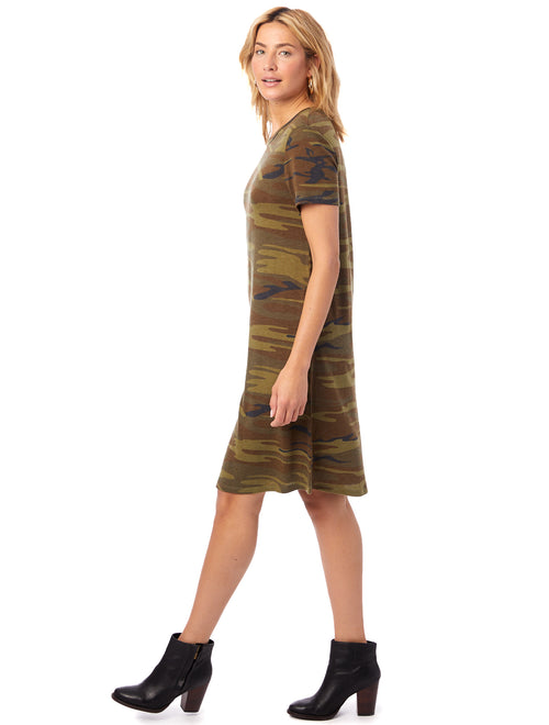 Eco-Jersey Printed Flare T-shirt Dress in Camo