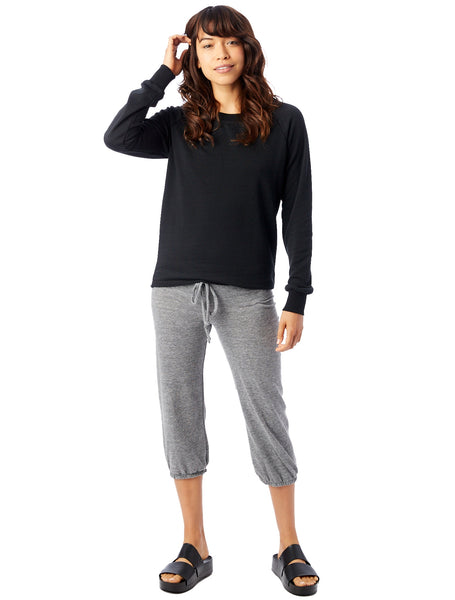 Lazy Day Burnout French Terry Pullover Sweatshirt in True Black