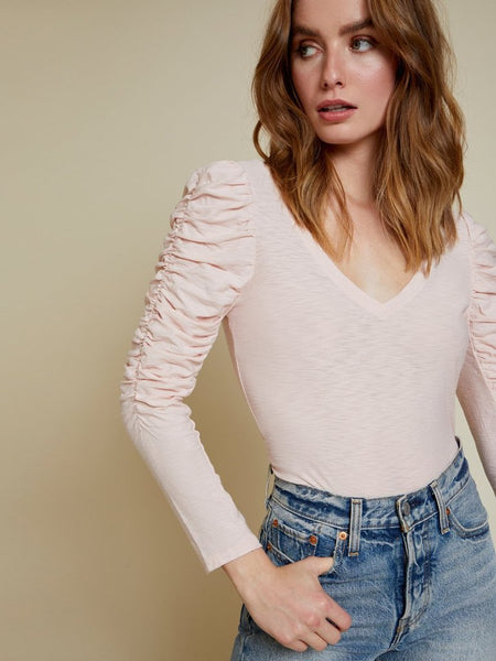 Kristen Ruched Sleeve V-Neck in Porcelain
