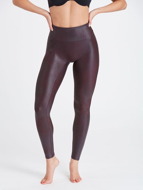 Faux Leather Legging in Wine