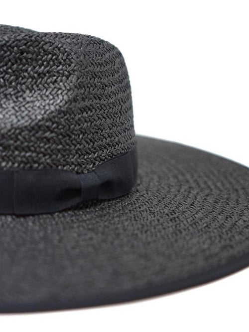 Woven Wide Brim Hat in Black