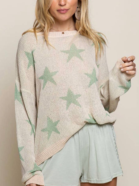 Shaded Pistachio Sweater in Cream