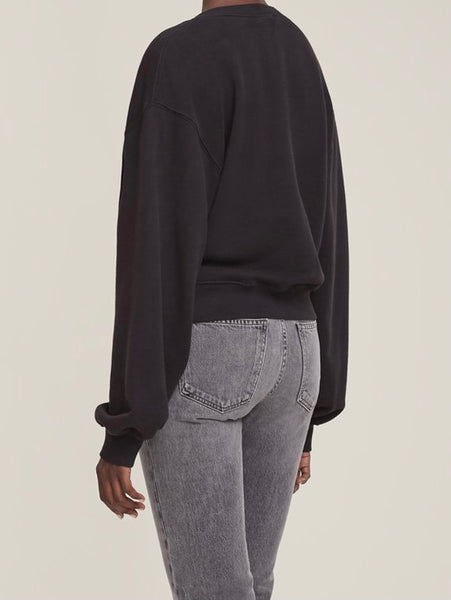 V Neck Balloon Sleeve Sweatshirt in Black