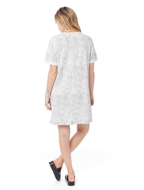 Terry Teka Dress in Light Grey Snake