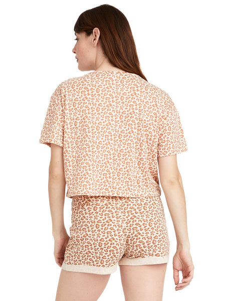 Relaxed Flowy Crop in Peach Mini Leopard