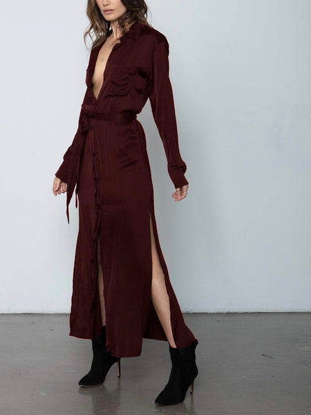 Darian Shirt Dress in Deep Red