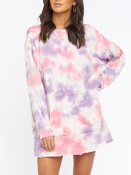 Sunday Sweatshirt Dress in Candy Tie Dye