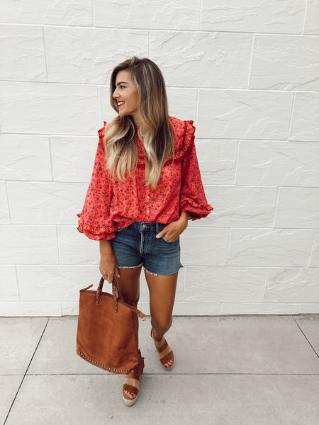 Jenna Printed Blouse in Raspberry