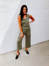 Harper Eco-Jersey Cropped Jumpsuit in Army Green