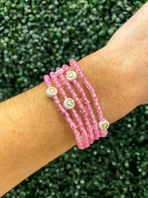 Onie + Sky Pink Beaded Breast Cancer Awareness Bracelet