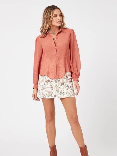 Carrington Fringe Shirt in Clay