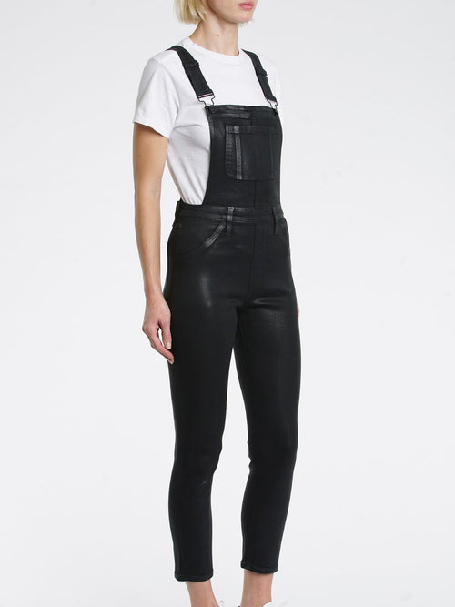 Jesse Skinny Overalls in Coated Black