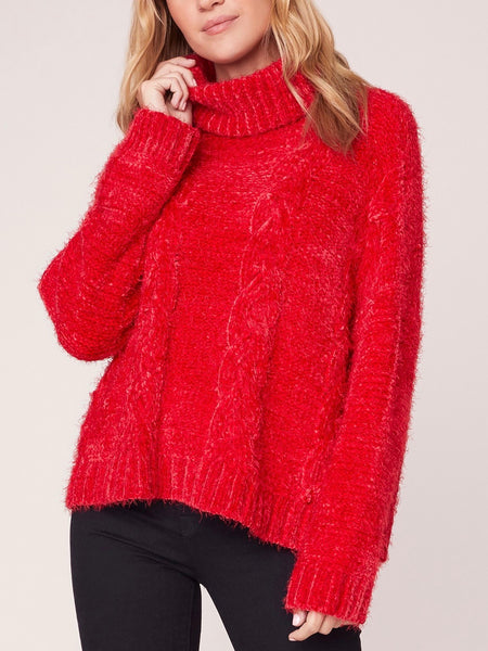 Eyelash Kisses Cable Knit Sweater in Scarlet Red
