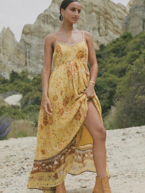 Mystic Strappy Maxi Dress in Sunflower