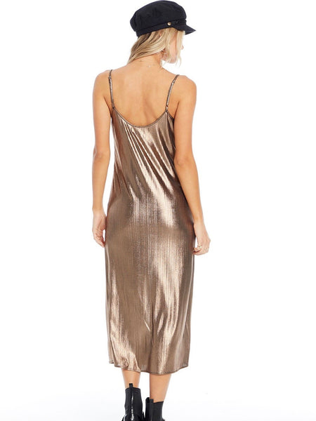 Rae Midi Dress in Metallic Daze