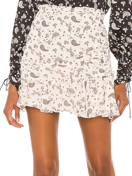 Paisley Mini Skirt in Sand