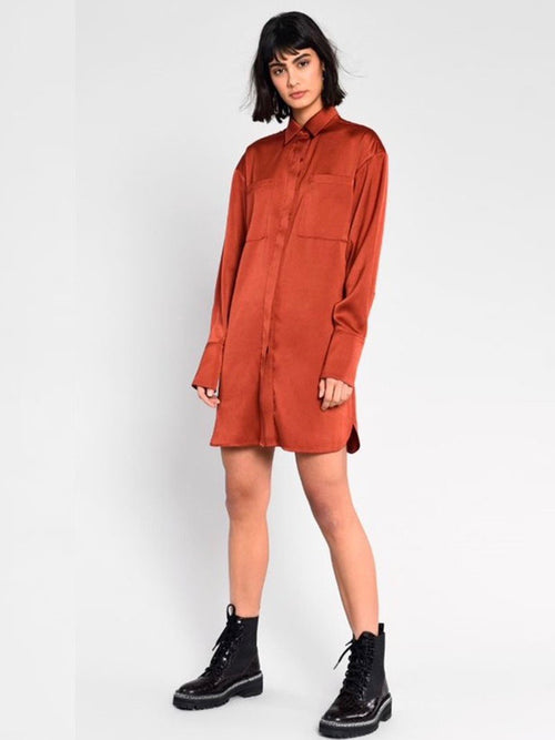Collared Shirt Dress in Rust