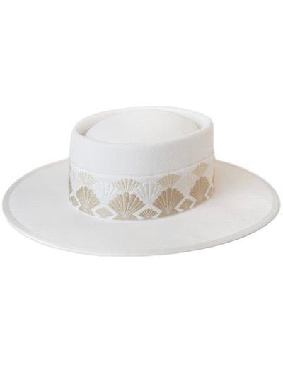 Give Me More Banded Boater Hat in Ivory