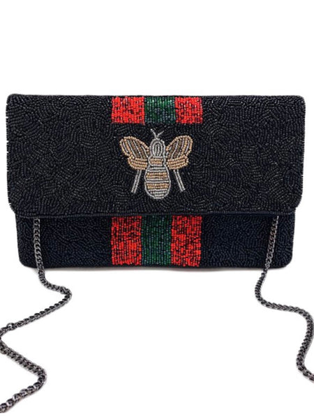 We Not Gucci Mini Beaded Clutch