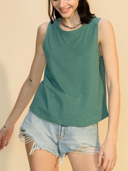 Basic Babe Curve Hem Top in Teal