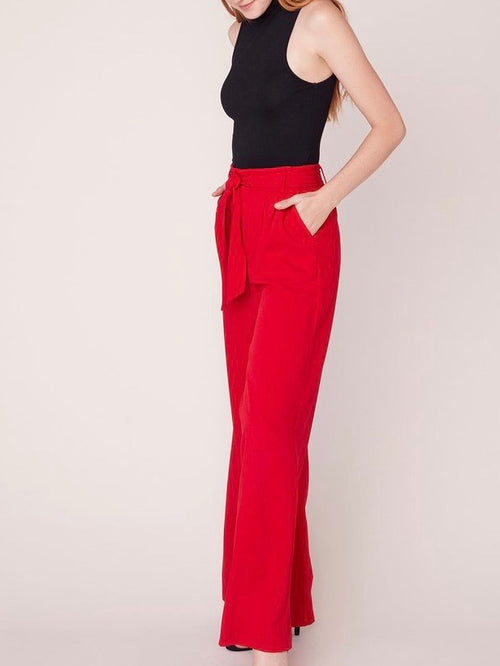 Wide Stride High Waisted Trouser in Bright Red