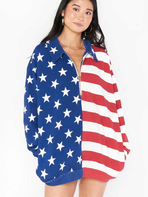 Benny Half Zip in Flag Knit