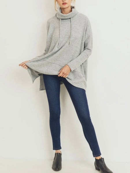 Wanted You The Most Drawstring Pullover - Heather Gray