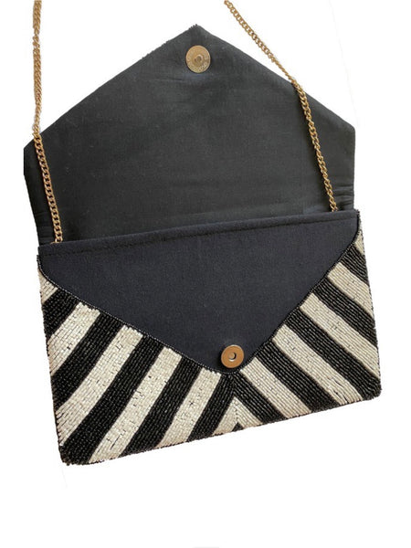 Zebra Me Beaded Clutch