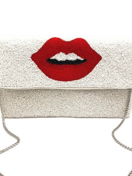 Red My Lips Beaded Bag