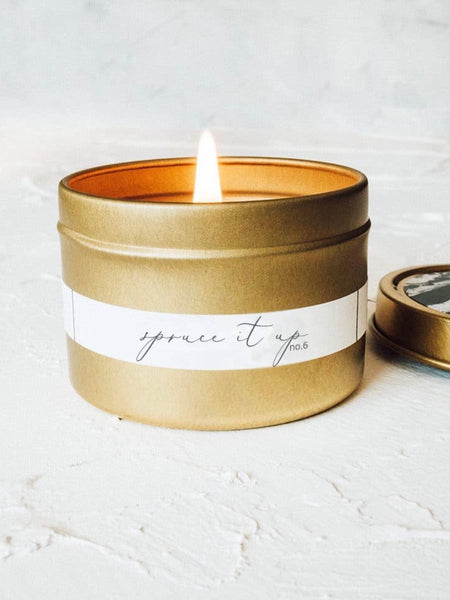 Spruce It Up Gold Travel Tin Candle